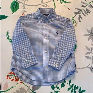 Blue gingham button-down shirt Ralph Lauren 3T